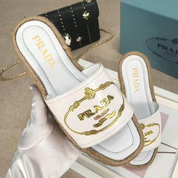 """PRADA"" New Popular Women Letter Embroidery Sandal Slipper Shoes White I-OMDP-GD"