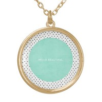 Hello Beautiful - Mint and dots Round Pendant Necklace