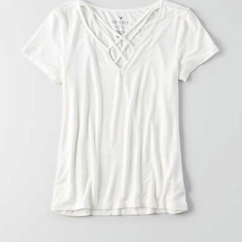 AEO Soft & Sexy Cage Front T-Shirt , Natural White