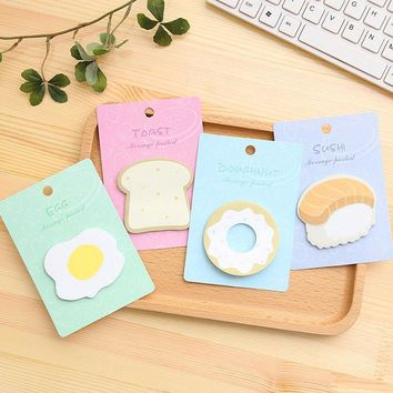 Cute Kawaii Egg Donuts Memo Pad Adhesive Sticky Note Creative Toast Sushi Sticky Paper Korean Stationery Office School Supply
