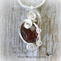 Genuine Garnet Wire Wrapped Pendant Necklace in Silver - January Birthstone