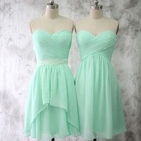 Light Mint Bridesmaid dress, Wedding dress, Short Chiffon dress, Strapless Party dress, Formal Dress, Prom dress