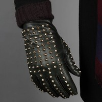Gold Studded Leather Gloves by Burberry Prorsum