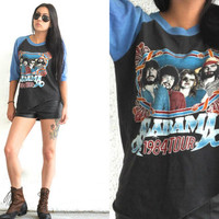 Vintage 80s Band Tee // 1984 Alabama Tour Baseball T Shirt // Blue Black // XS Extra Small / Small