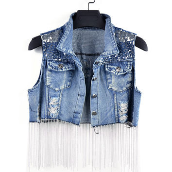 Fringed Denim Vest in Dark Blue or Light Blue Wash