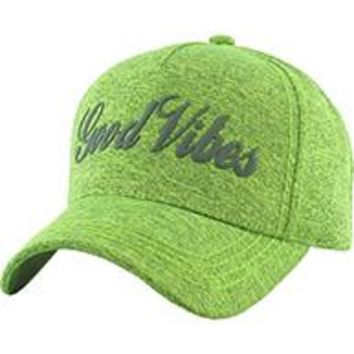 I'M  FEELING GOOD VIBES Unisex Hat Old School LIME GREEN  Blend Baseball Cap
