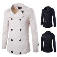 Double Breasted Men's Slim Fit Trench Jacket