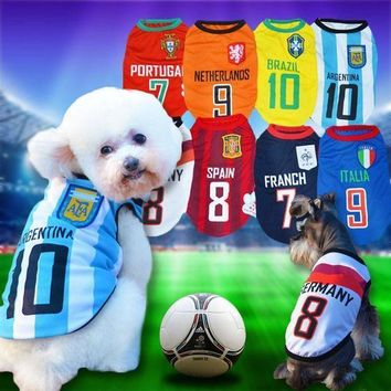 CREYONS 8 Country World Cup Soccer Jersey For Dog Cool Breathable Dog Vests Puppy Outdoor Spor