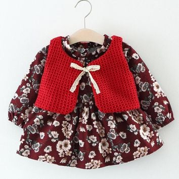 Baby Sets Spring&Autumn New Baby Girls Dress Sets Long-sleeved Floral Dress+Tied Bow Knitting Vest Suit Princess Party Dress