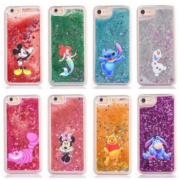 Cute cartoon glitter phone case for iphone 6s 7plus 5s se 6 7 8 8plus shell mickey Minnie Stitch Mermaid Liquid Quicksand Cover