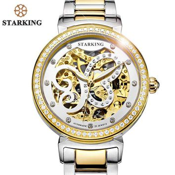 STARKING Women Automatic Mechanical Tourbillon Skeleton Watch 2017 New Arrival Luxury Brand Red Women Dress Watches Relo AL0181