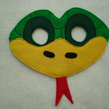 Children's Green Snake Felt Animal Mask