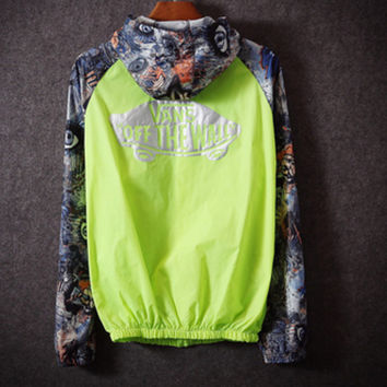 Fashion Unisex Lover's Vans Sports Coat Windbreaker Eye print Green