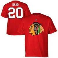Brandon Saad Chicago Blackhawks Reebok Name and Number Player T-Shirt – Red
