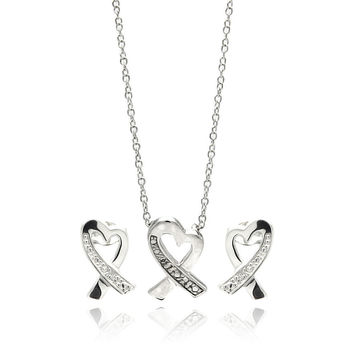 .925 Sterling Silver Rhodium Plated Open Heart Ribbon Channel Cubic Zirconia Stud Earring & Necklace Set