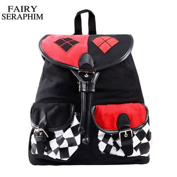 FAIRY SERAPHIM New Design Suicide Squad Harley Quinn Backpack mochila Cosplay Knapsack School Bag joker children schoolbag
