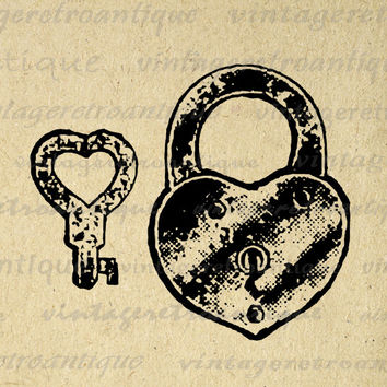 Heart Shaped Lock and Key Graphic Digital Image Padlock Printable Download Vintage Clip Art for Transfers etc HQ 300dpi No.1341