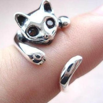 Animal Cat Style Silver Ring