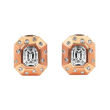 1.41tcw Round & Tapered Baguette Diamonds in 18K Rose Gold Octagon Statement Earrings