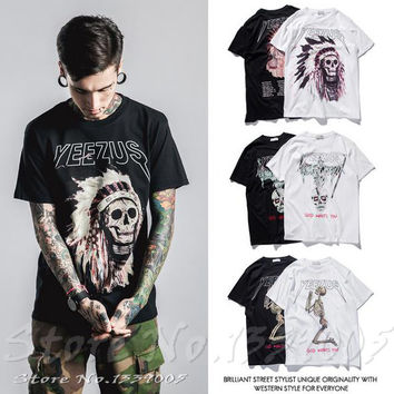 2016 Summer Males Casual Tops Kanye west Yeezus Men's T-shirt Skull Religious Style