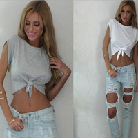 SOLID COLOR LOOSE SHORT-SLEEVED T-SHIRT
