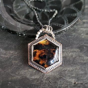 Amber Hexagon Pendant in Copper & Sterling Silver