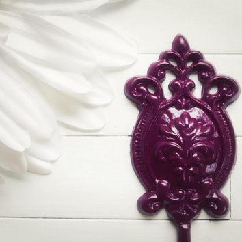 Plum Wall Hook / Shabby Chic / Purple Decor / Metal Hook / French Country Decor / Ornate / Cottage Chic / Fixture / Gift Ideas /Housewarming