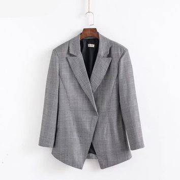 Spring new European Black and white plaid suit notched collar waist suit small blazer
