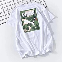 PUMA Stylish Men Women Casual Camouflage Print Round Collar T-Shirt Top Blouse Black
