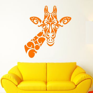 Vinyl Wall Decal Abstract Giraffe African Animal Head Stickers (2411ig)
