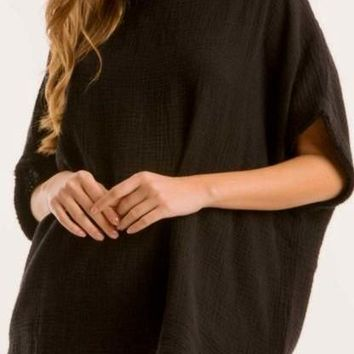 Anika Cotton Crepe Top in Black