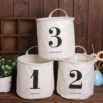 Multi-function Handle Linen Laundry Basket Toy Storage Box