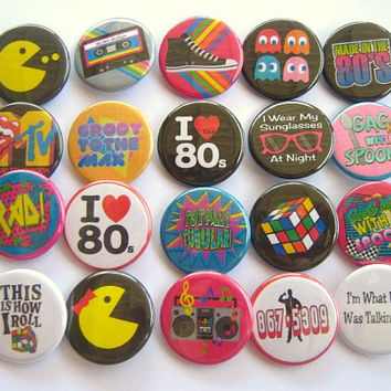 Totally 80's Party Theme Party Favors set of 20 1.25 inch Pin back Buttons 1980's party theme