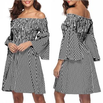 Summer Striped Off Shoulder Dresses Sexy Bell Sleeve Cocktail Party Dress Plus Size Loose Tunic Vestidos Femininas WS9408U