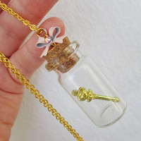 Sailor Moon Necklace - CHIBI MOON Pink Sugar Heart Wand  in a bottle - Sailor Scout Jewelry - DELUXE Version