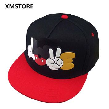 2017 Summer New Womens Cartoon Mickey Baseball Cap Adjustable Snapback Mouse Hat Hip Hop Caps Sun Hats Men Women Casquette W148