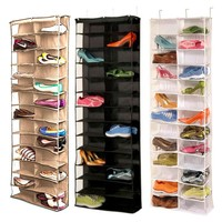 2017 New Household Useful 26 Pocket Shoe Rack Storage Organizer Holder, Folding Door Closet Hanging Space Saver with 3 Color