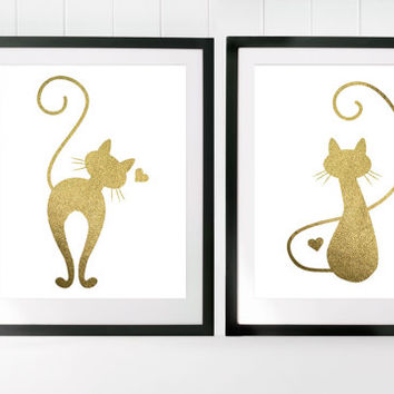 printable poster, gold cats, gold cat poster, cat poster set, cat lover art, gold foil art, gold decor, gold home decor, cat printables