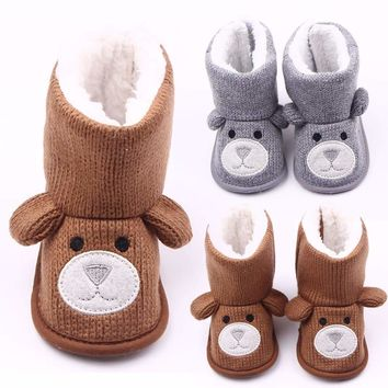 Infant Baby Girl Cartoon Anti-slip Warm Soft Sole Slipper Shoes Snow Boots 0-18M