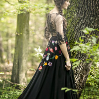Black lace dress with embroidery