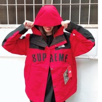 Kuyou Gf19831 Supreme X The North Face Tnf Arc Logo Mountain Parka Red Mountain Jacket