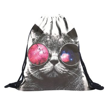 Women's Small Emoji 3D Cat Print Polyester Drawstring Backpack