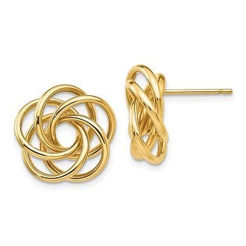 15mm Polished Love Knot Earrings in 14k Yellow Gold