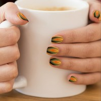 Orange, Green and Yellow Flame, Funky Design Minx® Nail Wraps