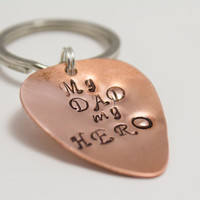 My Dad My Hero - Father's Day Guitar Pick Keychain - Copper, Silver, Musician