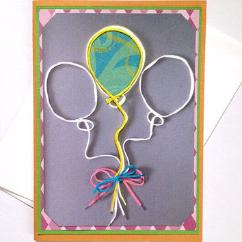 Shoestring Balloons Handmade Running Greeting Card for Runner Birthday, Celebration, Congratulations, Get Well Soon, Good Luck -Blank Inside