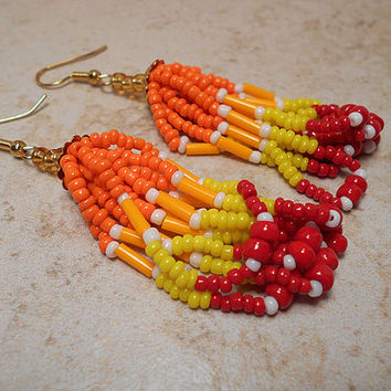 Red Orange Yellow Summer Earrings Hand Seed Beaded Looped Tassels Dangle Chandelier Modern Tribal Style Womens Jewelry Bright Warm Colors