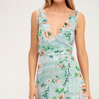 Lagoon Sage Green Floral Print Sleeveless Dress