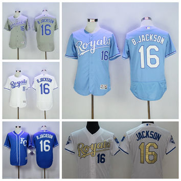 KC Royals Jerseys 16 Bo Jackson Jersey Flexbase Kansas City Royals Baseball 1985 1987 Turn Back Auburn Blue White Cooperstown
