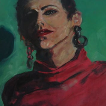 Original Hand Painted Oil Portrait Woman In Red Turtleneck  Signed Alejandro Salazar Jr